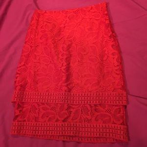 Worthington Red Lace Pencil Skirt size 8
